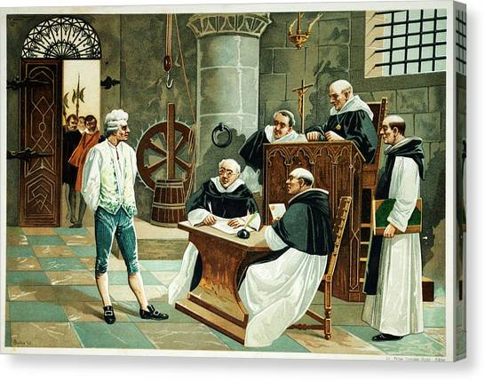 Confession Canvas Print - Defendant Before The Spanish Inquisition by David Parker