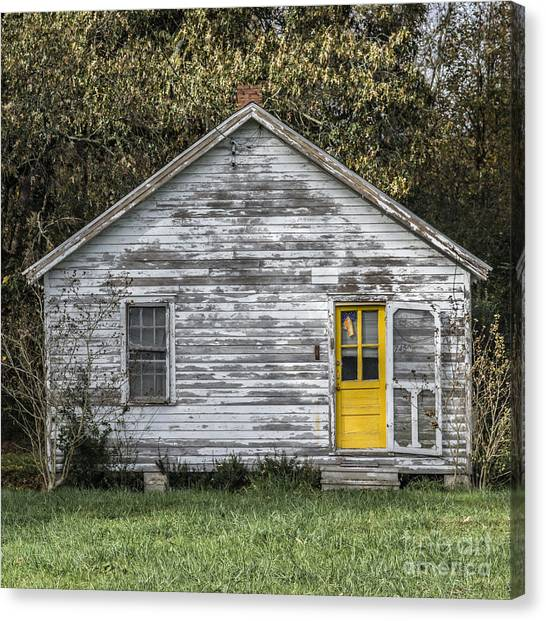 Defiant Yellow Door - Square Canvas Print