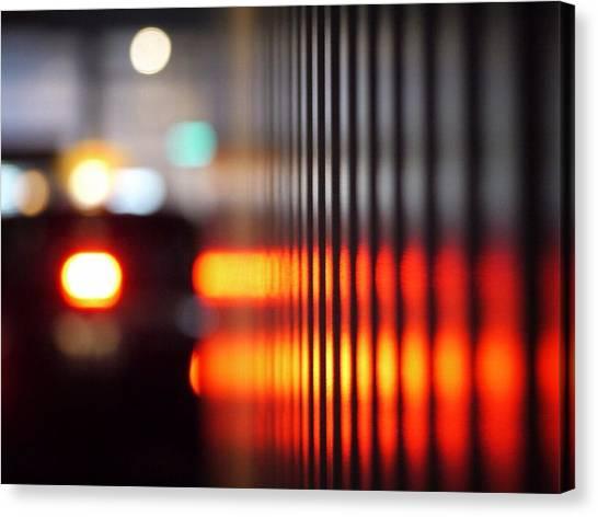 Defocus Image Of City Street At Night Canvas Print by Miyuki Watanabe / Eyeem