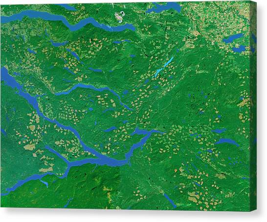 Deforestation Canvas Print - Deforestation In Canada by Worldsat International/science Photo Library
