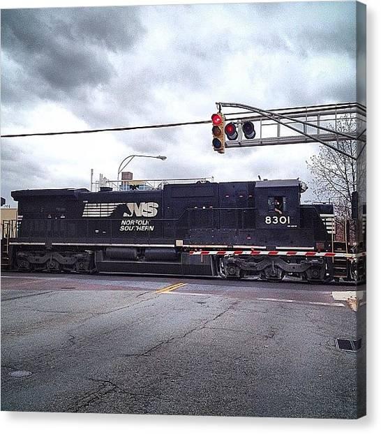 Freight Trains Canvas Print - #deisel #train #engine #trains #ns by Kim Schumacher