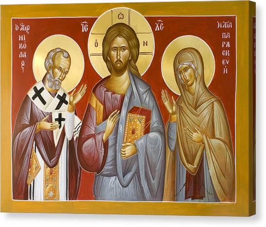 Canvas Print - Deisis Jesus Christ St Nicholas And St Paraskevi by Julia Bridget Hayes