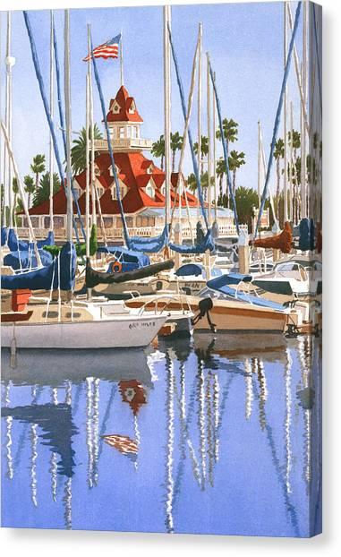 California Canvas Print - Del Coronado Boathouse by Mary Helmreich