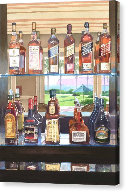 Liquor Canvas Print - Del Coronado Spirits by Mary Helmreich