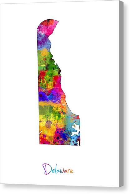 Delaware Canvas Print - Delaware Map by Michael Tompsett