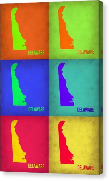 Delaware Canvas Print - Delaware Pop Art Map 1 by Naxart Studio