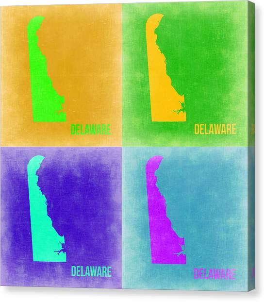 Delaware Canvas Print - Delaware Pop Art Map 2 by Naxart Studio