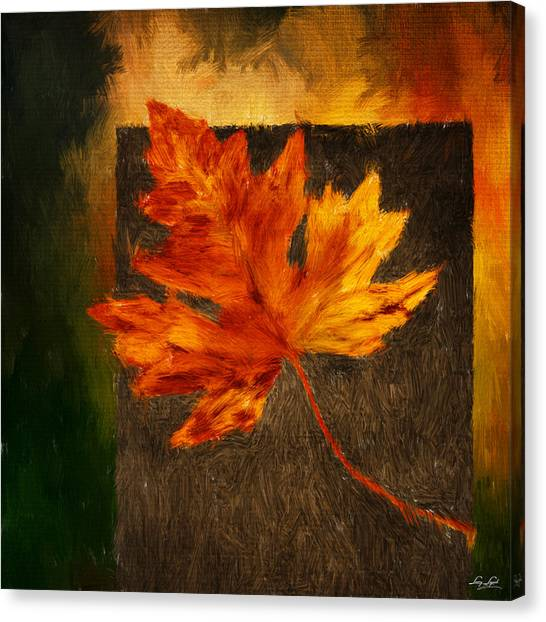 Maple Leaf Art Canvas Print - Delightful Fall by Lourry Legarde