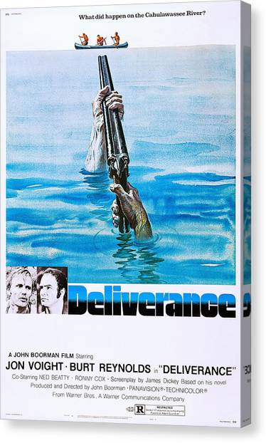 Burt Reynolds Canvas Print - Deliverance, Us Poster Art, From Left by Everett