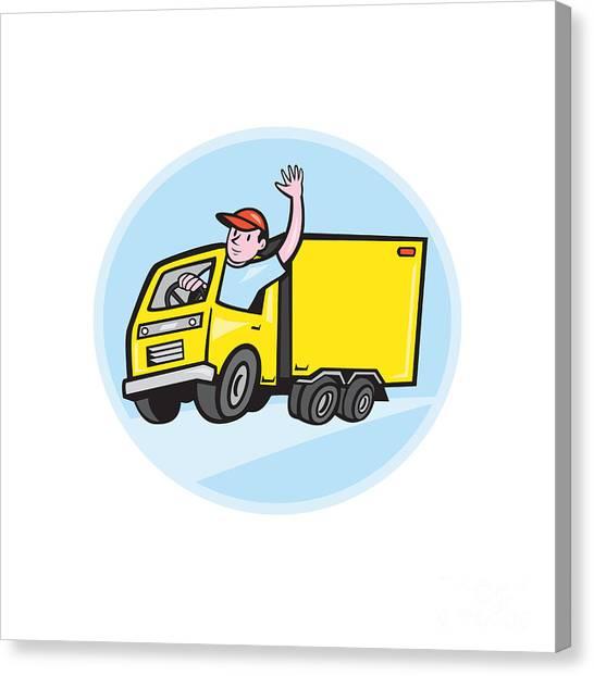 Truck Driver Canvas Print - Delivery Truck Driver Waving Cartoon by Aloysius Patrimonio