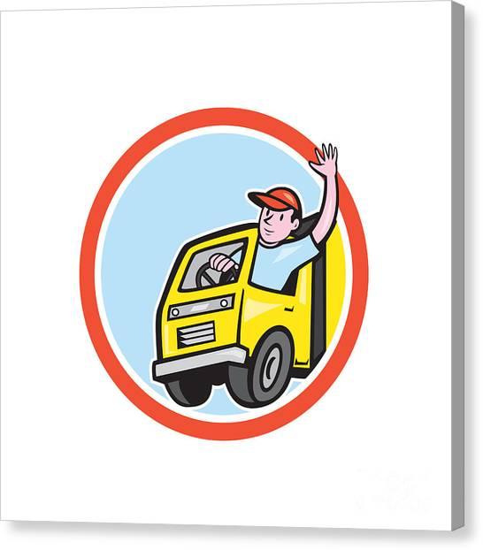Truck Driver Canvas Print - Delivery Truck Driver Waving Circle Cartoon by Aloysius Patrimonio