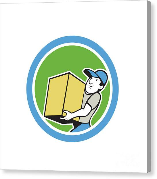 Delivery Worker Carrying Package Cartoon Canvas Print by Aloysius Patrimonio