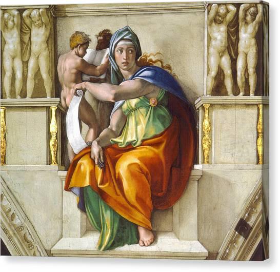 Canvas Print featuring the painting Delphic Sybil by Michelangelo di Lodovico Buonarroti Simoni