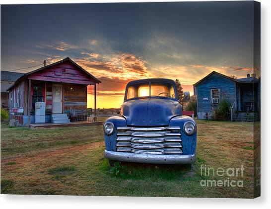 Canvas Print featuring the photograph Delta Blue - Old Blue Chevy Truck In The Mississippi Delta by T Lowry Wilson