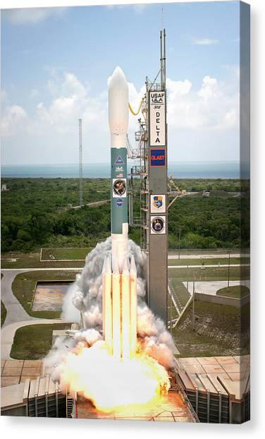 Delta Gamma Canvas Print - Delta II Launch With Space Telescope by Science Source