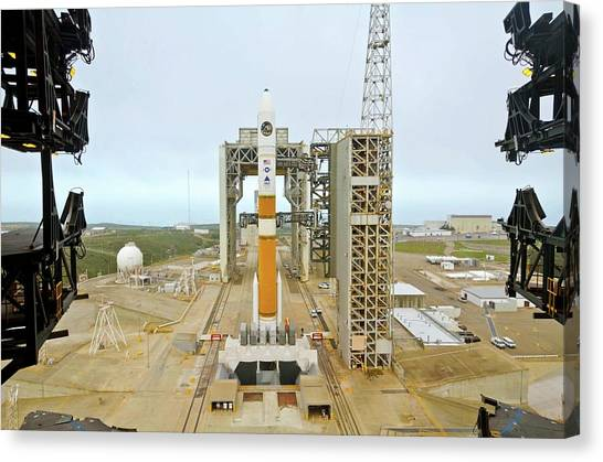 Delta Canvas Print - Delta Iv Rocket On Launch Pad by National Reconnaissance Office