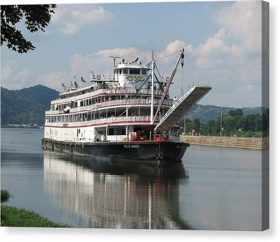 Ohio Valley Canvas Print - Delta Queen On Ohio River by Willy  Nelson