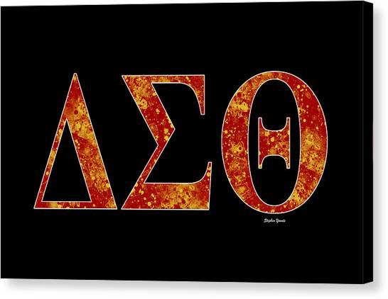 College Canvas Print - Delta Sigma Theta - Black by Stephen Younts