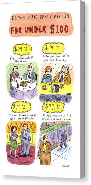 Democratic Politicians Canvas Print - Democratic Party Access For Under $100 by Roz Chast