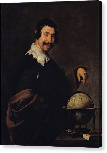 Philosopher Canvas Print - Democritus, Or The Man With A Globe Oil On Canvas by Diego Rodriguez de Silva y Velazquez