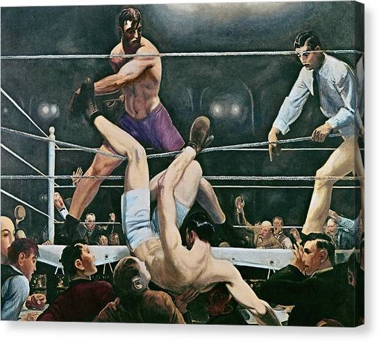 Unconscious Canvas Print - Dempsey V Firpo In New York City by George Wesley Bellows