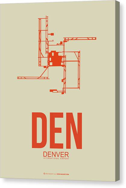 Airports Canvas Print - Den Denver Airport Poster 2 by Naxart Studio