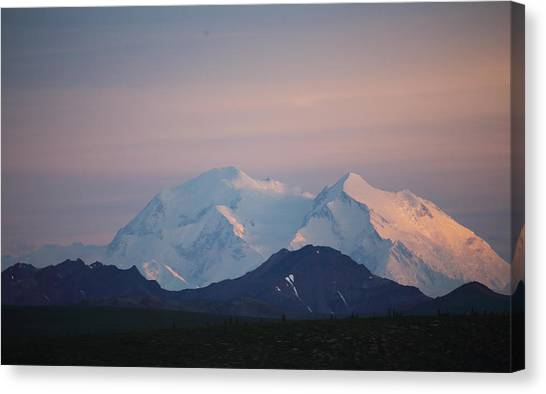Canvas Print featuring the photograph Denali At Sunset by Jean Clark