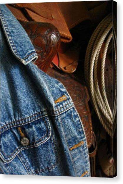 Denim And Leather Canvas Print