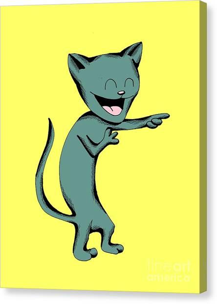 Denim Cat Laughing Canvas Print