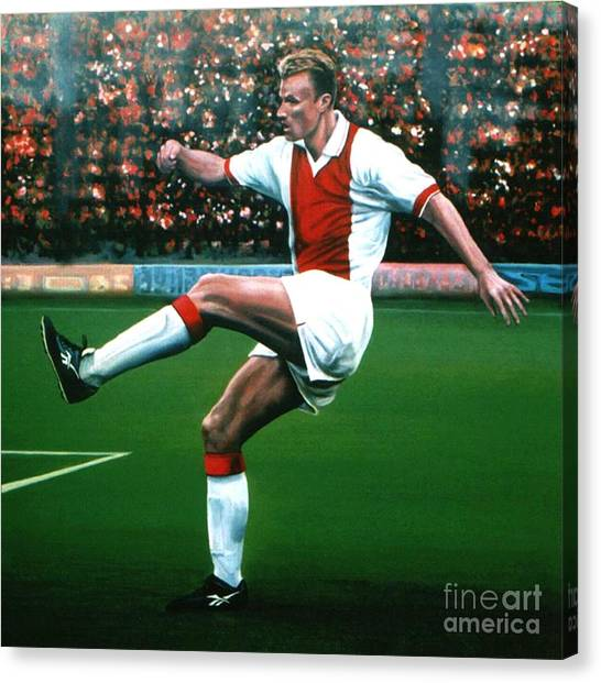 Law Canvas Print - Dennis Bergkamp Ajax by Paul Meijering