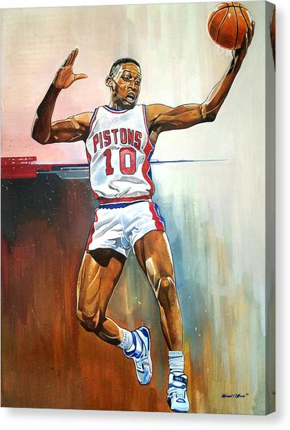 Detroit Pistons Canvas Print - Dennis Rodman Bad Boy Pistons by Michael  Pattison