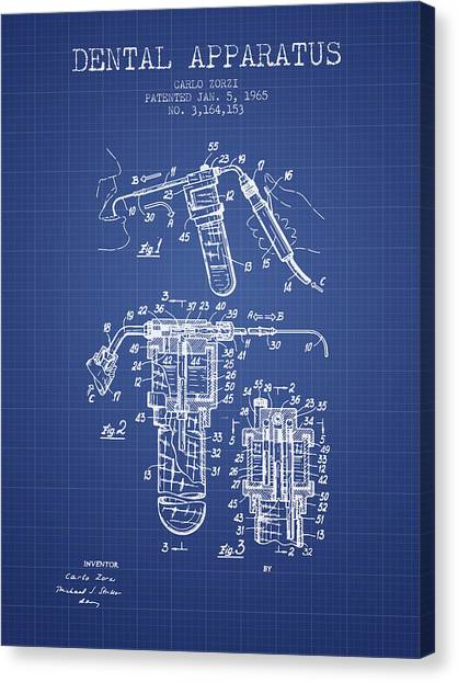 Dental chair canvas prints fine art america dental chair canvas print dental apparatus patent drawing from 1965 blueprint by aged pixel malvernweather Image collections