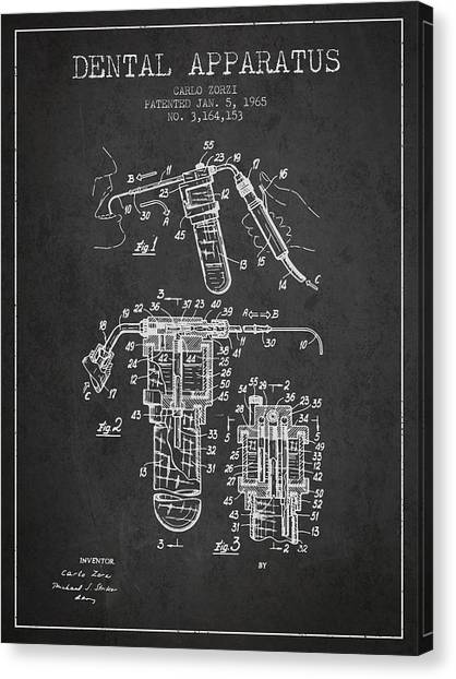 Excavators Canvas Print - Dental Apparatus Patent Drawing From 1965 - Dark by Aged Pixel