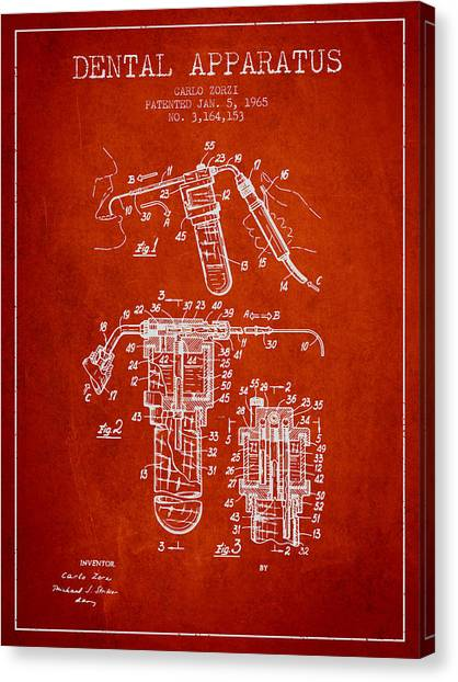 Excavators Canvas Print - Dental Apparatus Patent Drawing From 1965 - Red by Aged Pixel