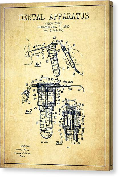 Excavators Canvas Print - Dental Apparatus Patent Drawing From 1965 - Vintage by Aged Pixel