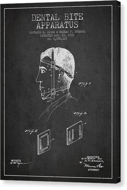 Excavators Canvas Print - Dental Bite Apparatus Patent From 1932 - Dark by Aged Pixel