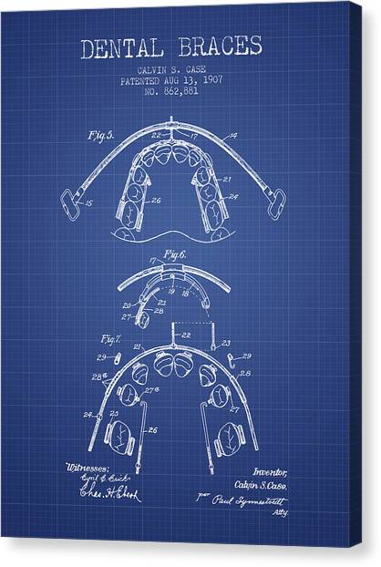 Excavators Canvas Print - Dental Braces Patent From 1907  - Blueprint by Aged Pixel