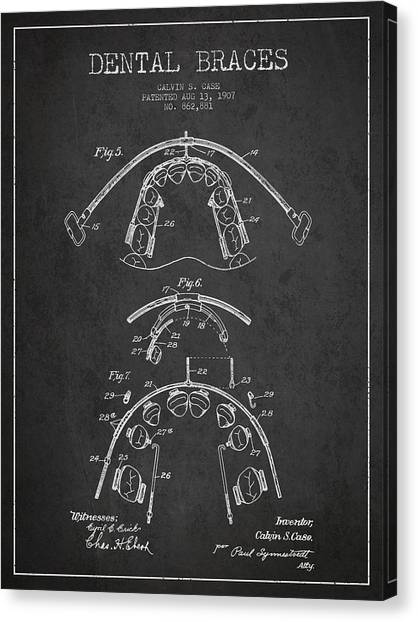 Excavators Canvas Print - Dental Braces Patent From 1907 - Dark by Aged Pixel