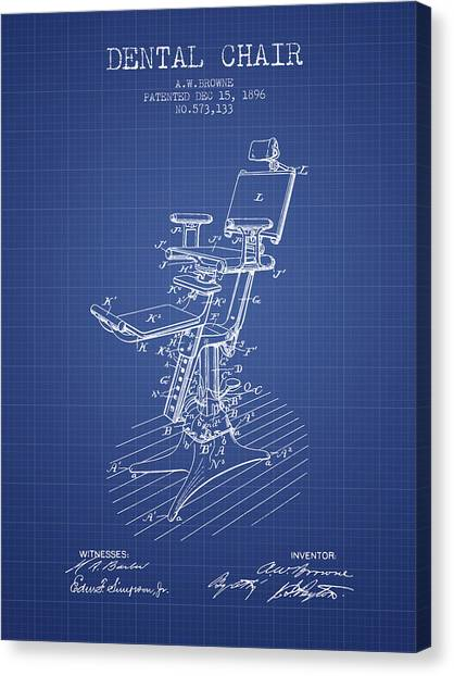 Dental chair canvas prints fine art america dental chair canvas print dental chair patent drawing from 1896 blueprint by aged pixel malvernweather Image collections