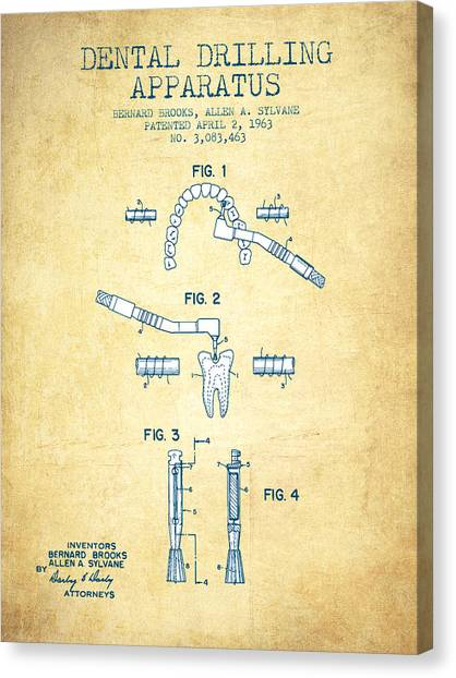 Excavators Canvas Print - Dental Drilling Apparatus Patent From 1963 - Vintage Paper by Aged Pixel
