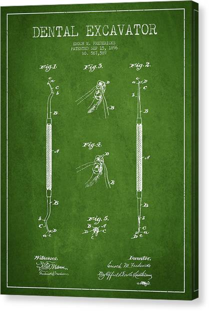 Excavators Canvas Print - Dental Excavator Patent Drawing From 1896 - Green by Aged Pixel