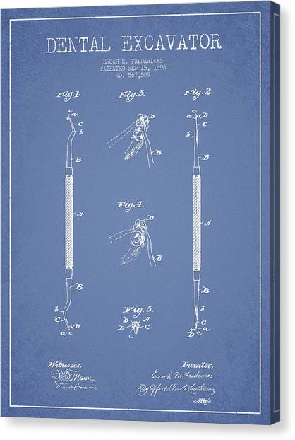 Excavators Canvas Print - Dental Excavator Patent Drawing From 1896 - Light Blue by Aged Pixel