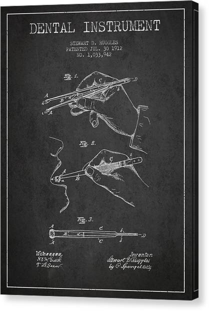 Excavators Canvas Print - Dental Instrument Patent From 1912 - Dark by Aged Pixel