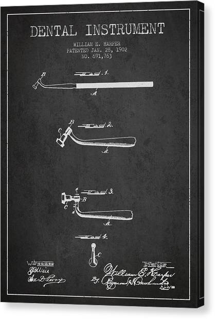Excavators Canvas Print - Dental Instruments Patent From 1902 - Dark by Aged Pixel
