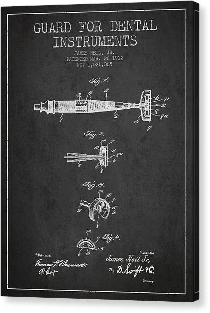 Excavators Canvas Print - Dental Instruments Patent From 1912 - Dark by Aged Pixel