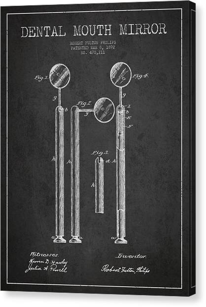 Excavators Canvas Print - Dental Mouth Mirror Patent From 1892 - Dark by Aged Pixel