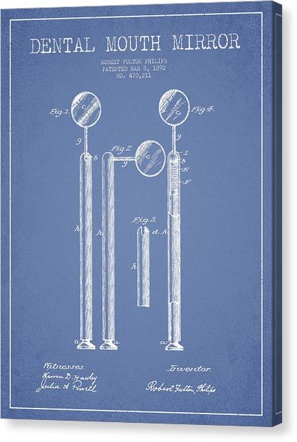 Excavators Canvas Print - Dental Mouth Mirror Patent From 1892 - Light Blue by Aged Pixel