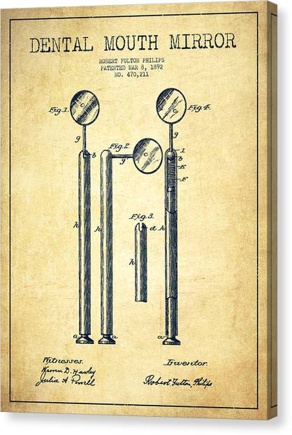 Excavators Canvas Print - Dental Mouth Mirror Patent From 1892 - Vintage by Aged Pixel