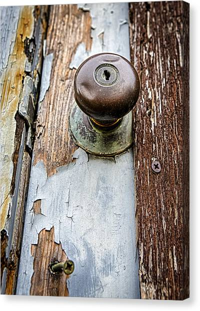 Abandoned House Canvas Print - Dented Doorknob by Caitlyn  Grasso