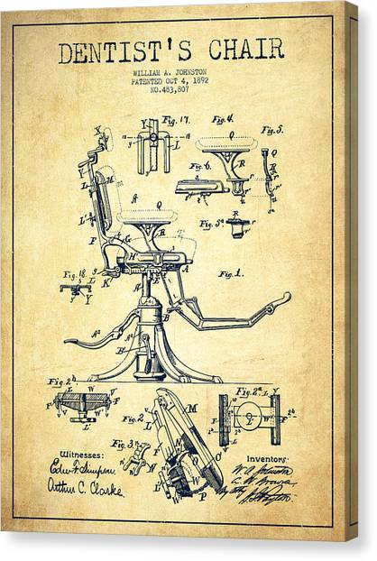 Dentists Canvas Print - Dentist Chair Patent Drawing From 1892 - Vintage by Aged Pixel